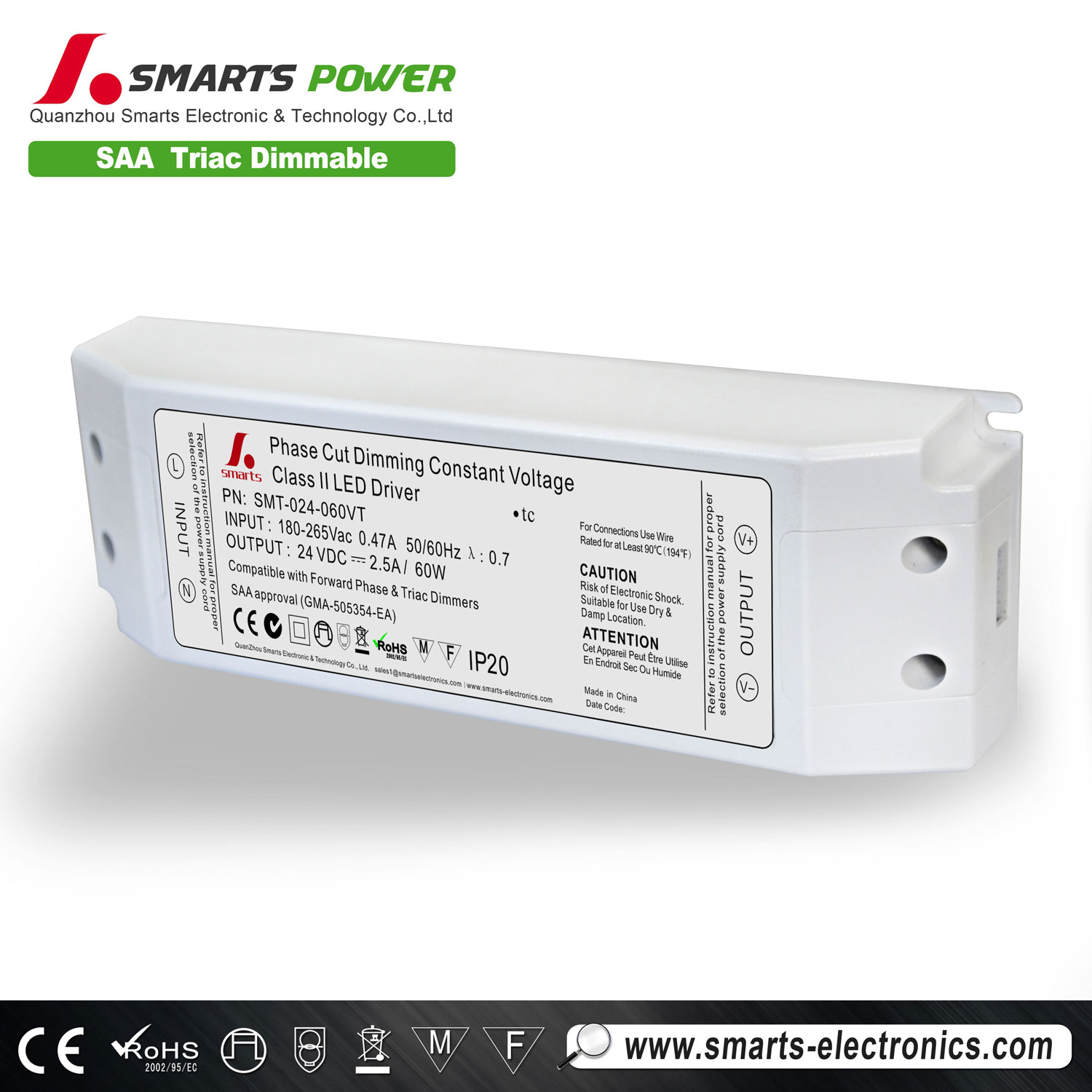 24v 60w triac dimmable led transformer