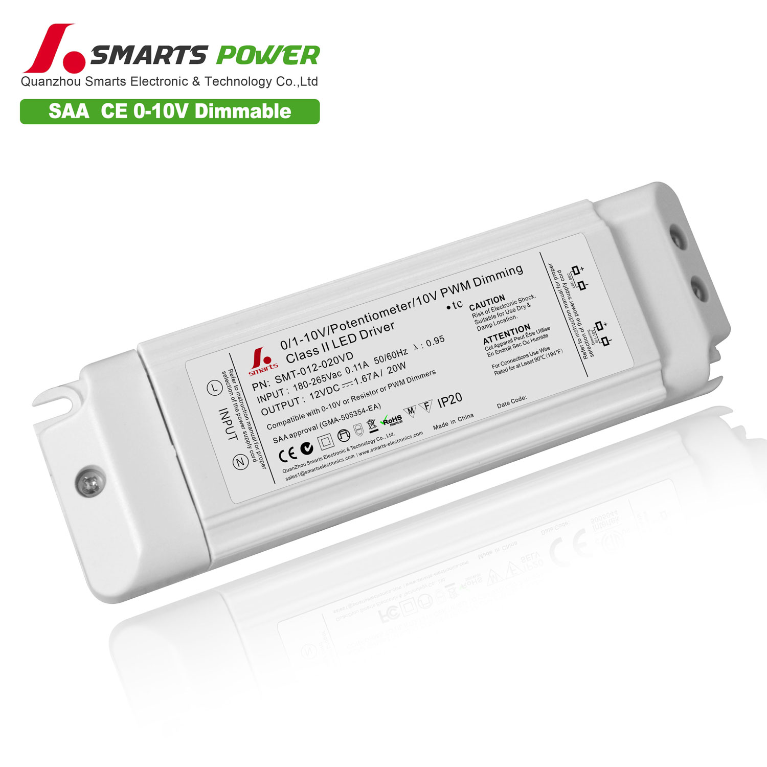 SAA list 12v 20w dimmable led driiver