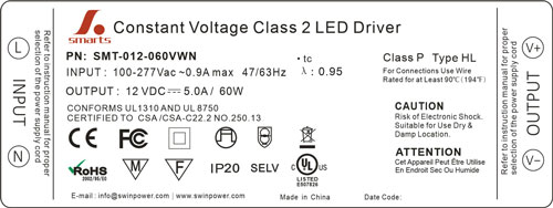 277v power supply 60w led