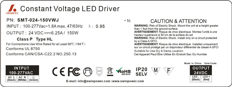 led power supply 150w