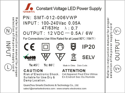 CE ROHS listed mini 12v 6w lighting power supply